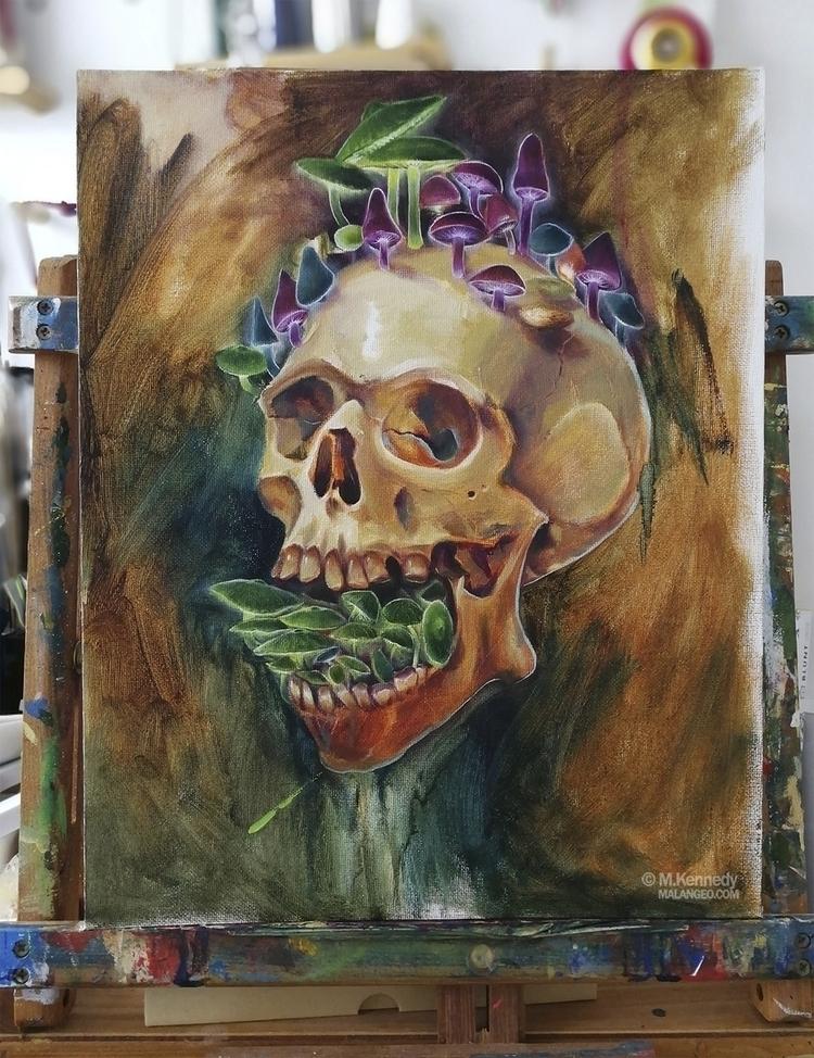 Shroom Skull - oils study oil p - malangeo | ello