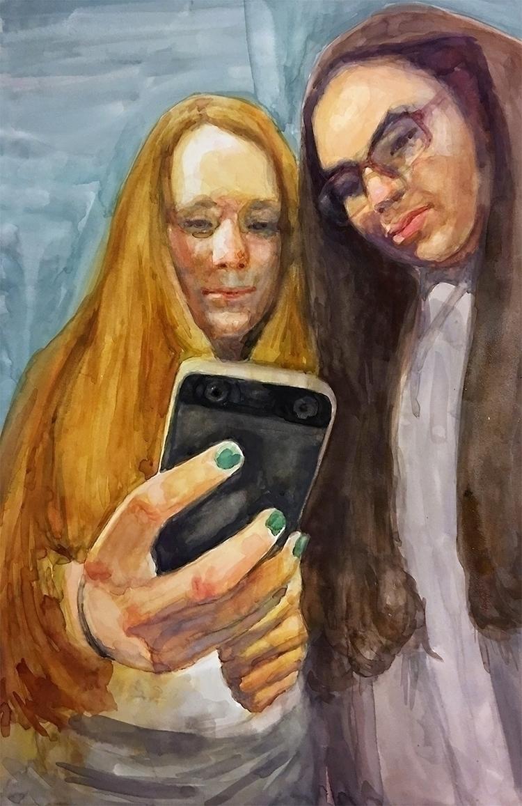 watercolors, cellphones, contemporarypainting - mariajimenez | ello