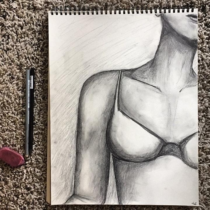 pencil, sketchbook, women, neck - hannah_piranha | ello