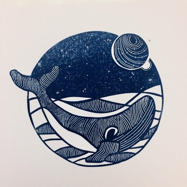 whale update - lino, linocut, print - studiomalu | ello