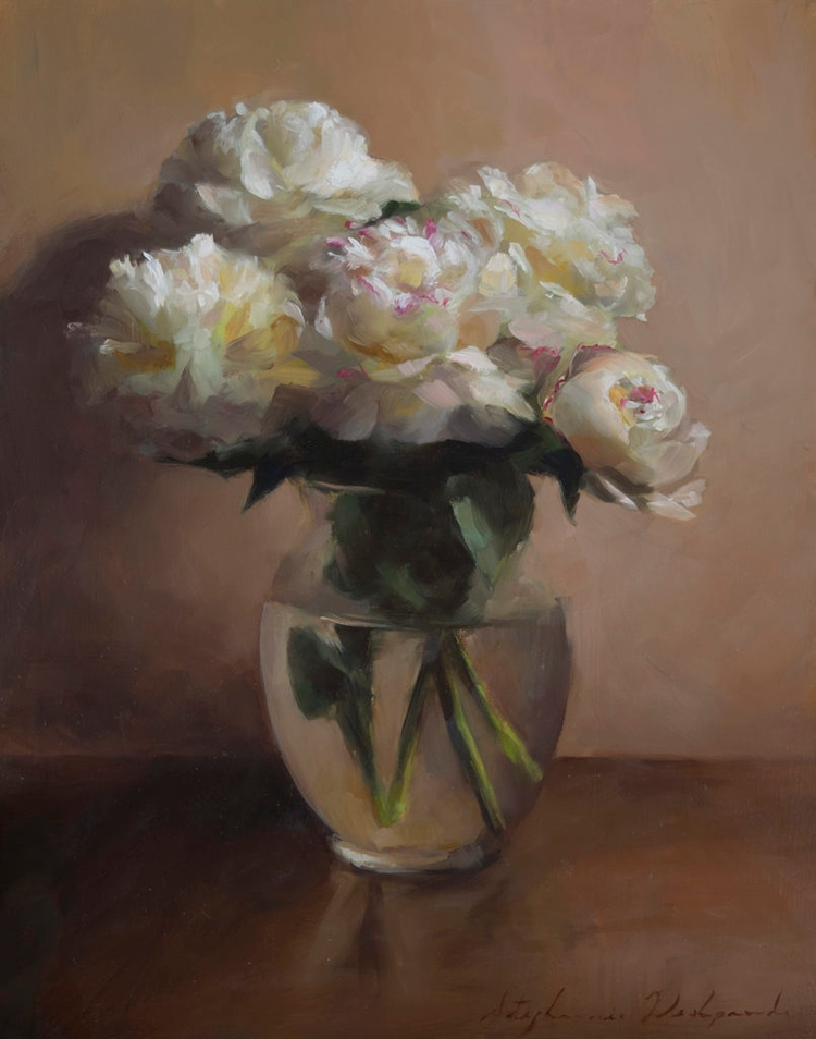 Peonies, Oil Linen, 20x16 - stephaniedesh | ello