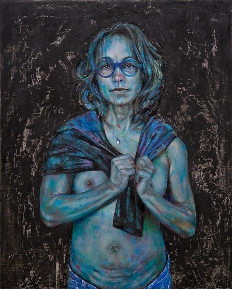 Black Blue oil linen board, 30  - lauratan | ello