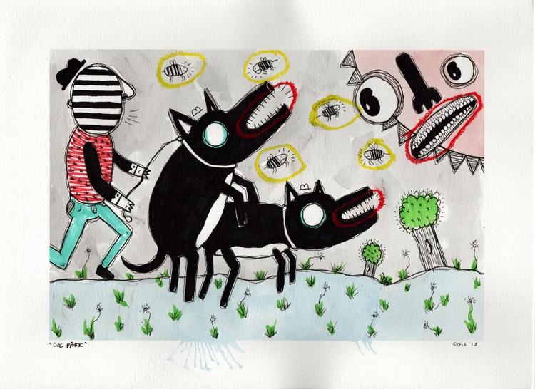 Dog Park - watercolor, paper, pen - skeleartart | ello