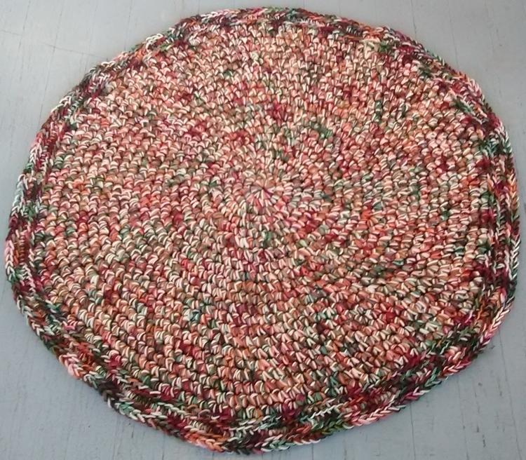 SOLD...Rug Handmade Crochet 40  - maryherrigfiberarts | ello