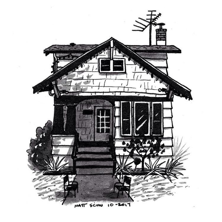 NE Portland houses - art, drawing - mattschu | ello
