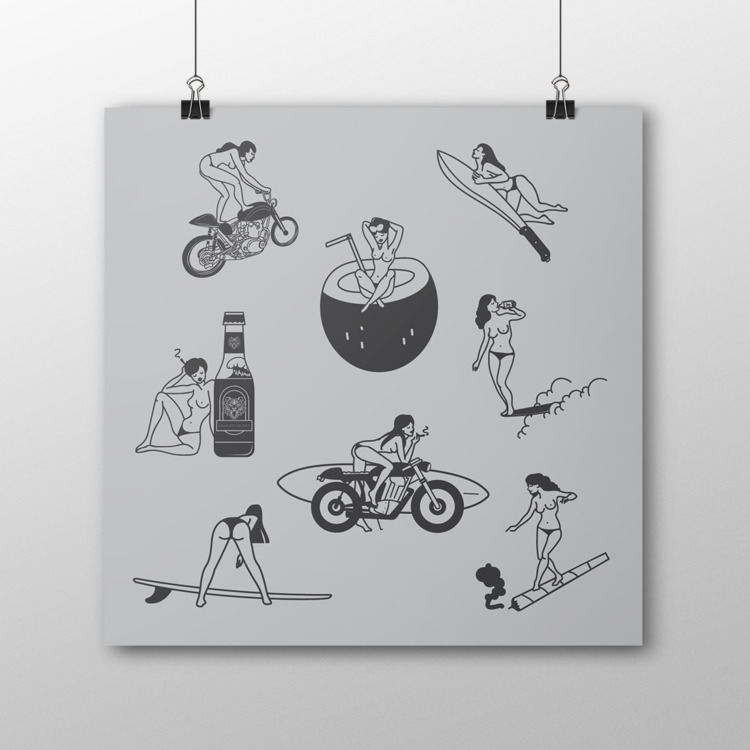 Tropical Butts, 2016 - digital, illustration - ivanatyler | ello