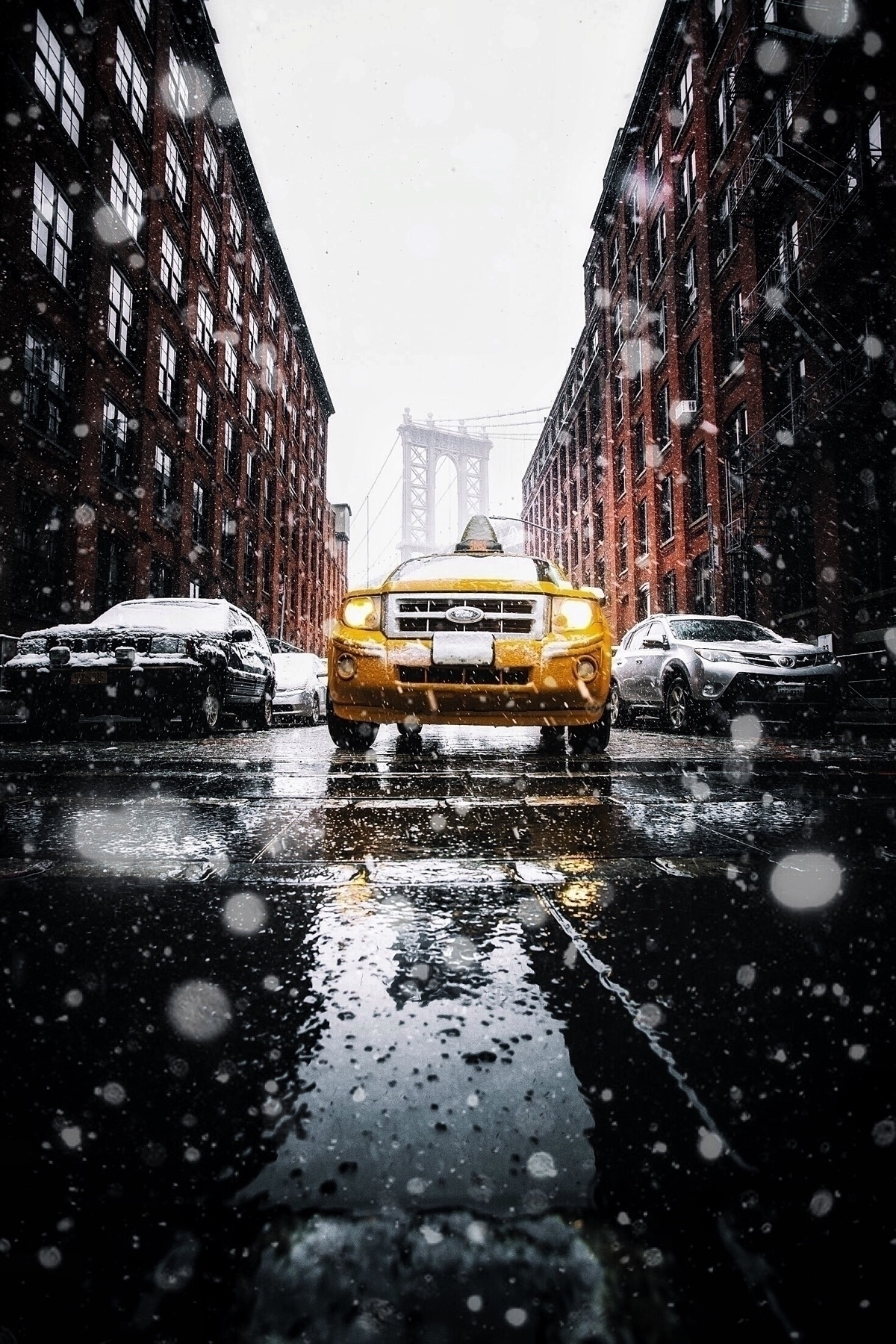 taxi, nyc, dumbo, snow, winter - imthejam | ello