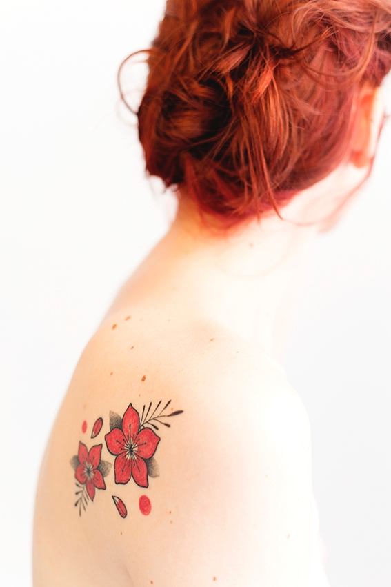 photoshoot red flower, tattoo 2 - shortcircuits | ello
