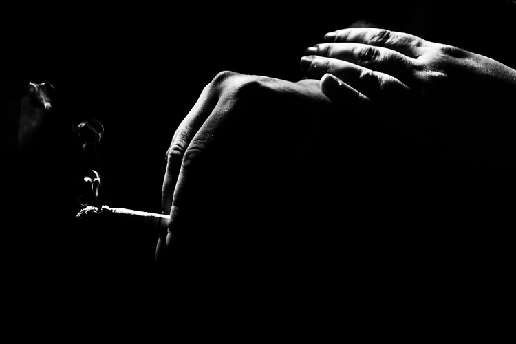 smoking cigarette - closeup, blackandwhite - cornelgin | ello
