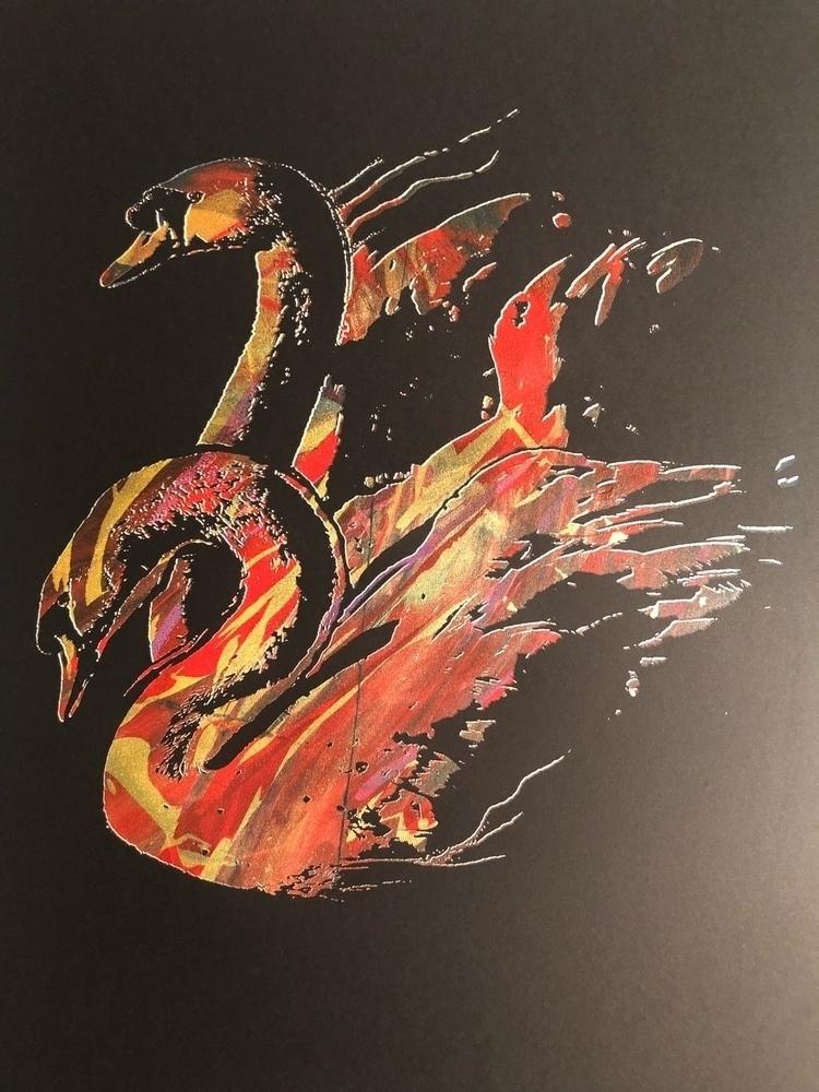 Swans | Multicolor screen-print - 1aeon | ello