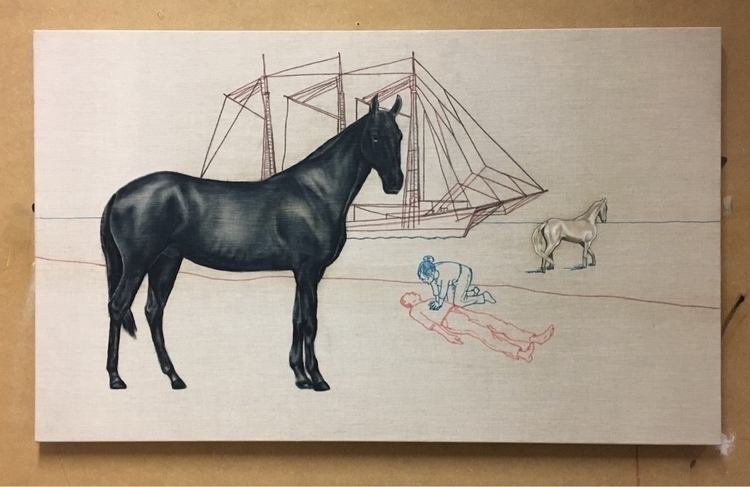 oilpainting, horses, johanraypedersen - ray3000 | ello