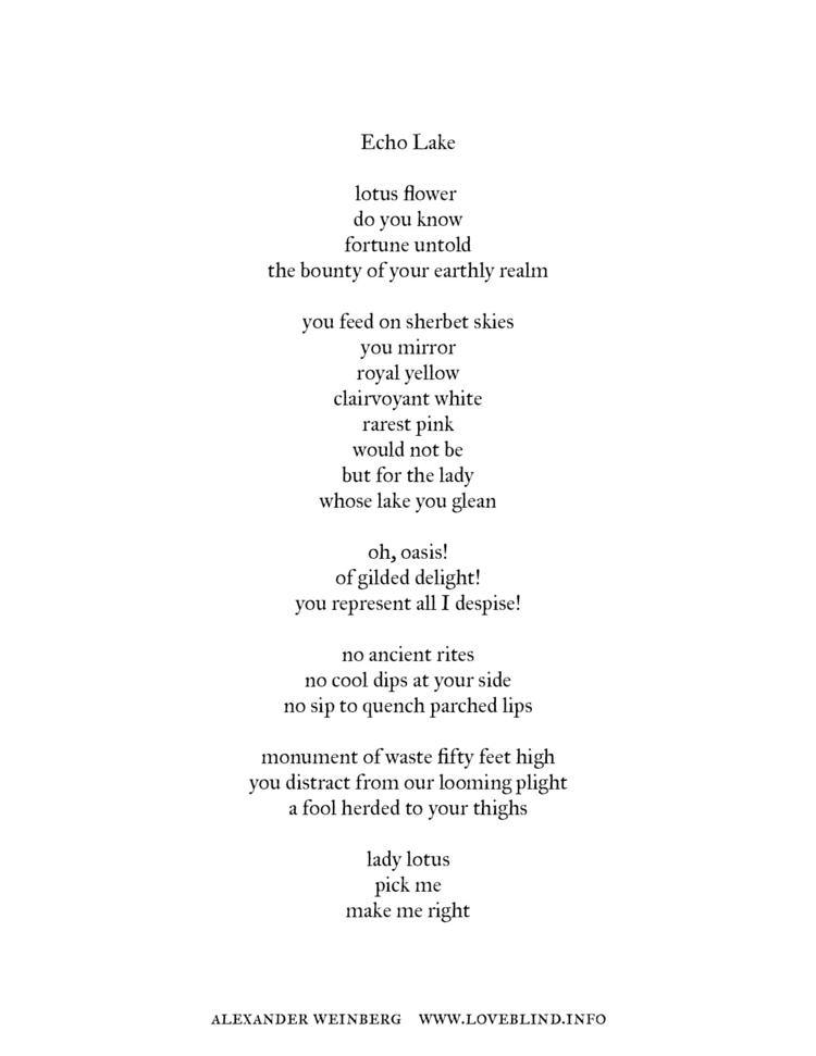 Title - 'Echo Lake' Medium Poet - loveblind | ello
