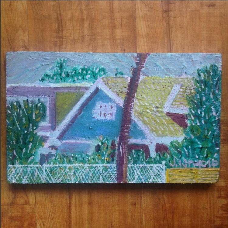 12x7 Oil wood Panel Winona Blvd - iggy7128 | ello