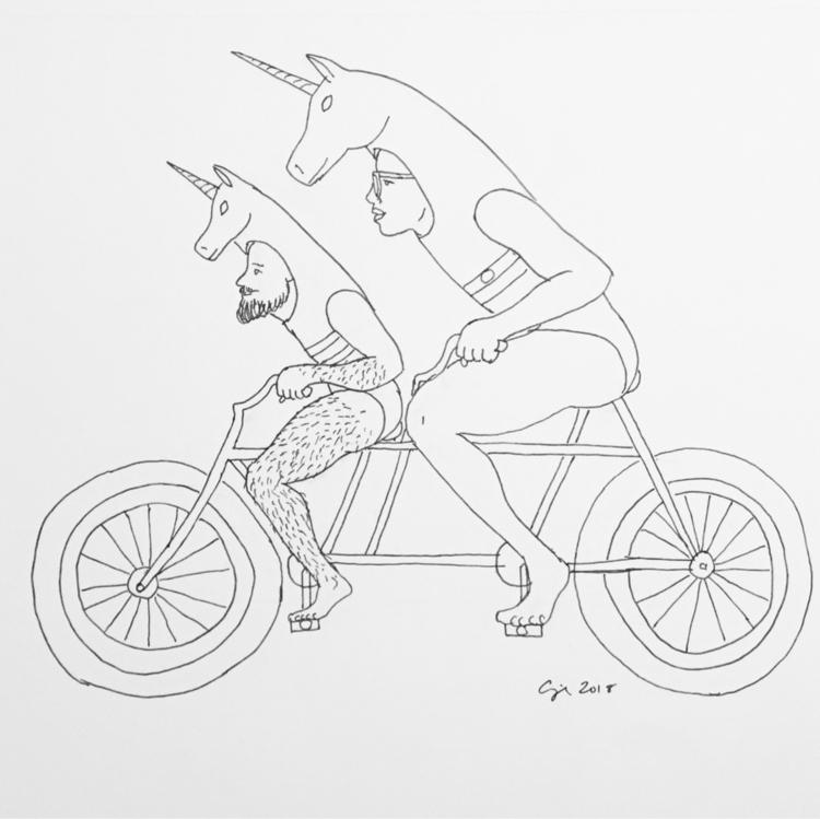 """Tandem Unicorns"", 2018, pigmen - cupidojala | ello"