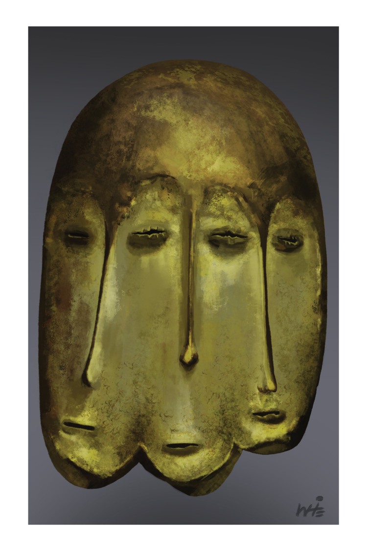 Mask style Lega people DR Congo - christianwhite_art | ello