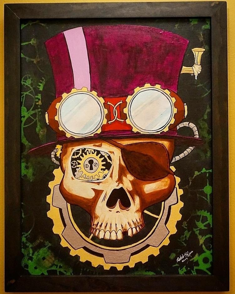 Steampunk Skull acrylic canvas  - roberthinojosa | ello