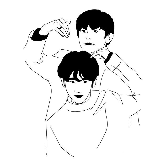 변백현 박찬열 - illustration, exo, 엑소 - vvoniver | ello