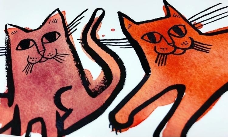 Meow-zers - cat, art, sketch, watercolor - reneeleigh | ello