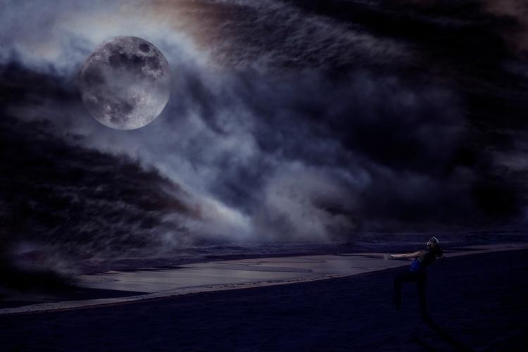 Nighttime collage - moon, fullmoon - jeannadollente | ello
