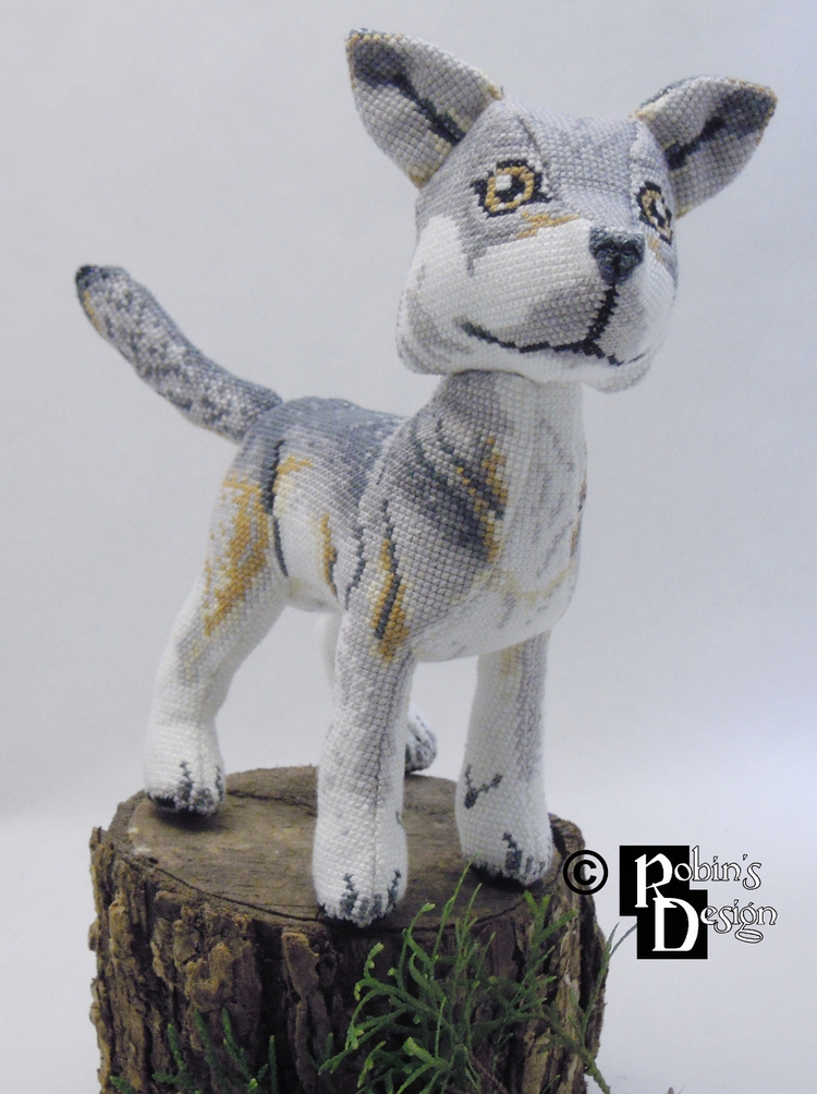 Nighteyes gray wolf 3D cross st - rhaben | ello