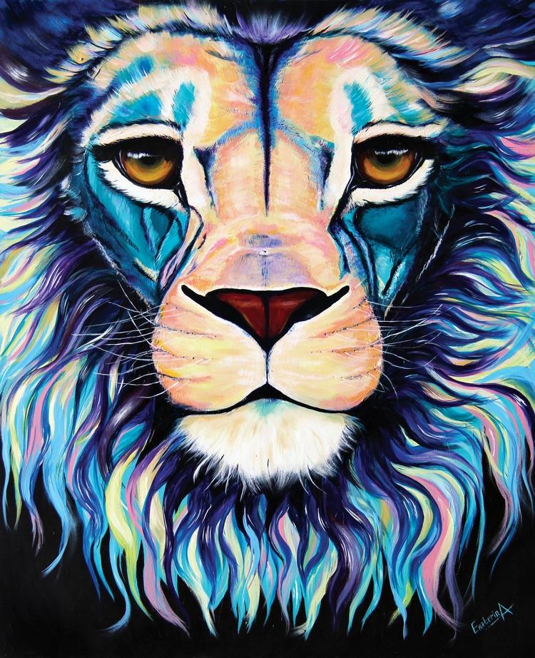 Meet Lion. Acrylic Canvas 40x48 - ekaterinaart | ello
