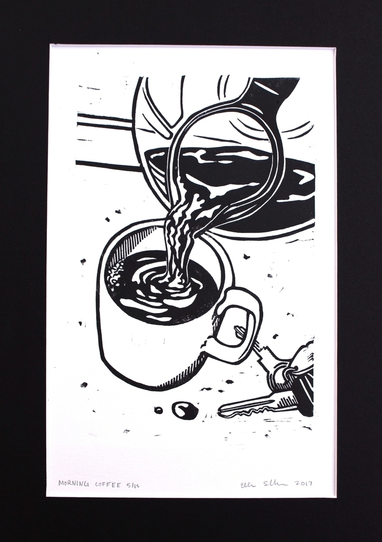 Morning Coffee linocut, 2017 - printmaking - ellen_schlabach | ello