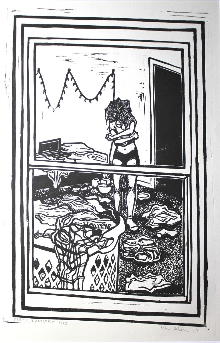 Dirty Laundry linocut, 2017 - printmaking - ellen_schlabach | ello