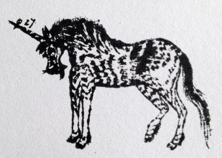 rare zebra unicorn, stamp - unvorbildlich   ello