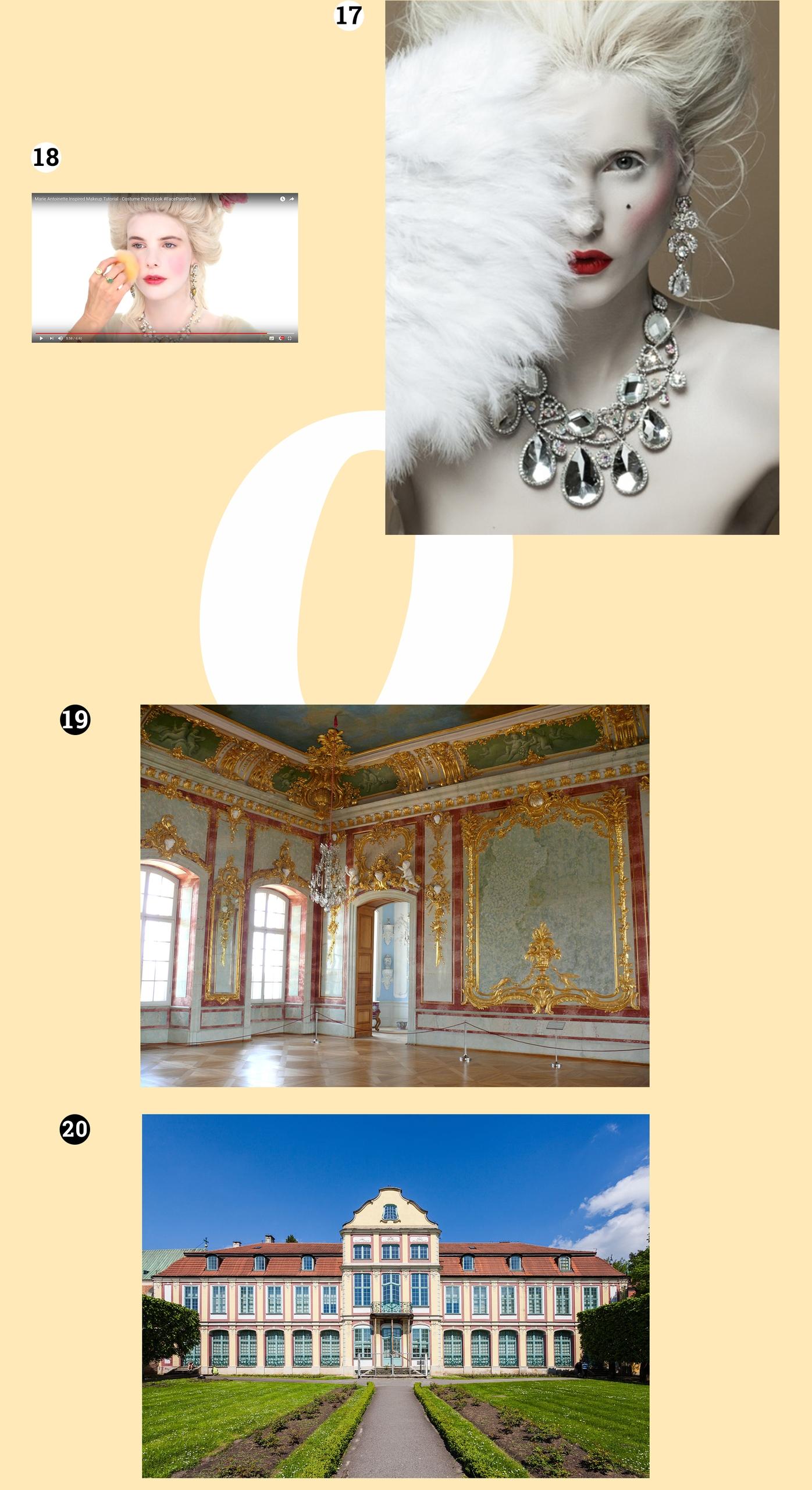 Obraz przedstawia cztery zdjęcia. Widzimy budynki, kobiecą twarz pomalowaną na biało oraz wnętrze w stylu rokoka.