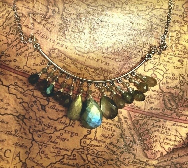 lolafaejewelry, labradorite, bibnecklace - lolafaejewelry | ello