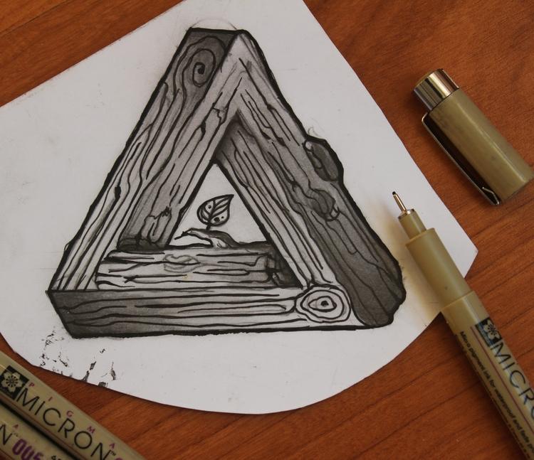 Design tattoo Escher wood trian - s_p_dzim   ello