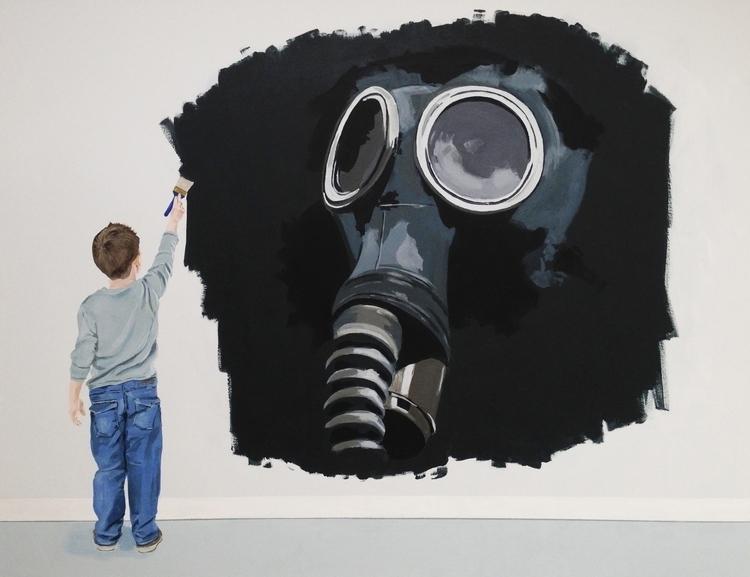 Painted Mask 48X60 acrylic/canv - jeffbessart | ello