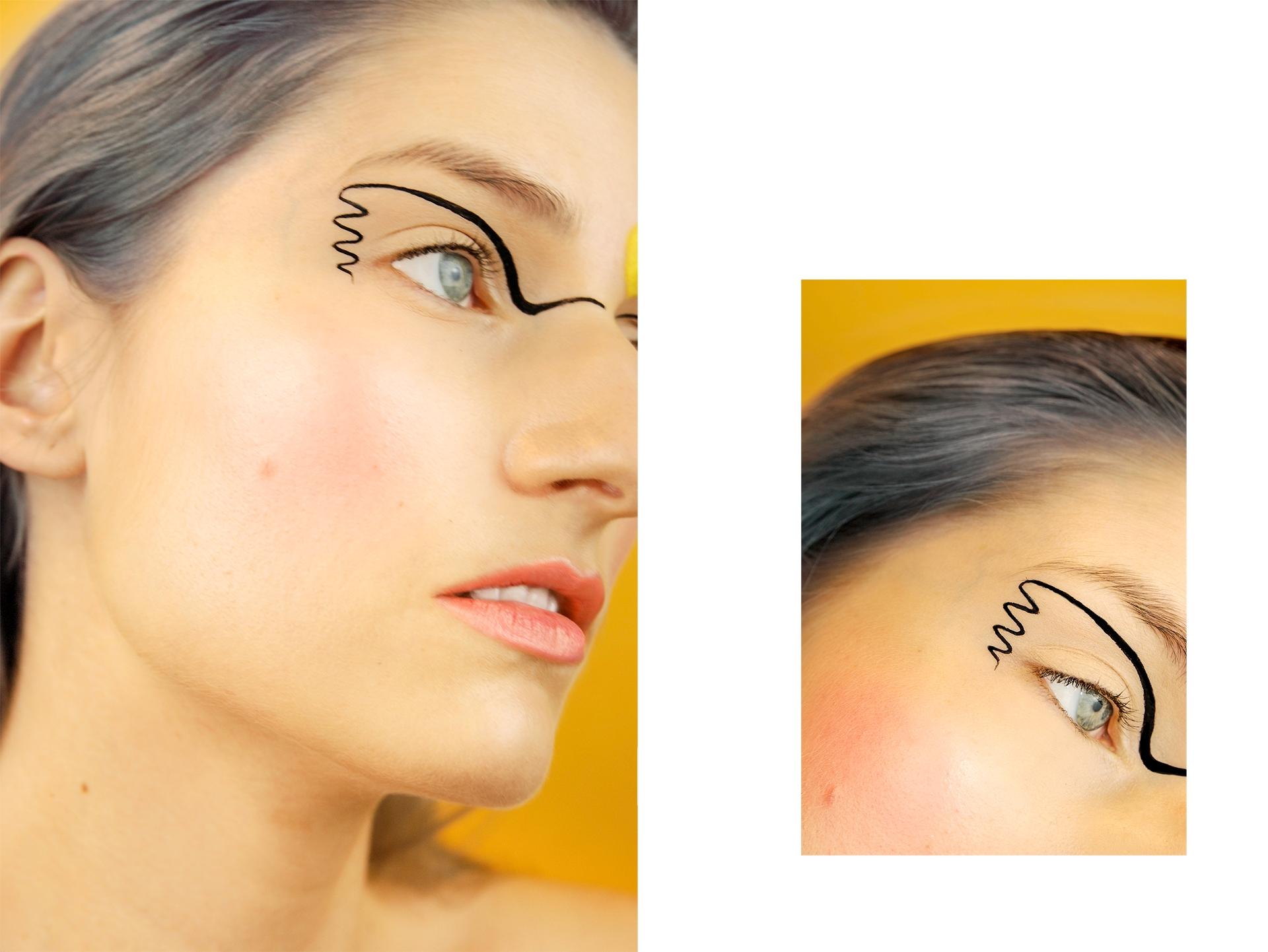 Zdjęcie przedstawia portret kobiety w makijażu, a obok widać drugie mniejsze zdjęcie ze zbliżeniem na oko.
