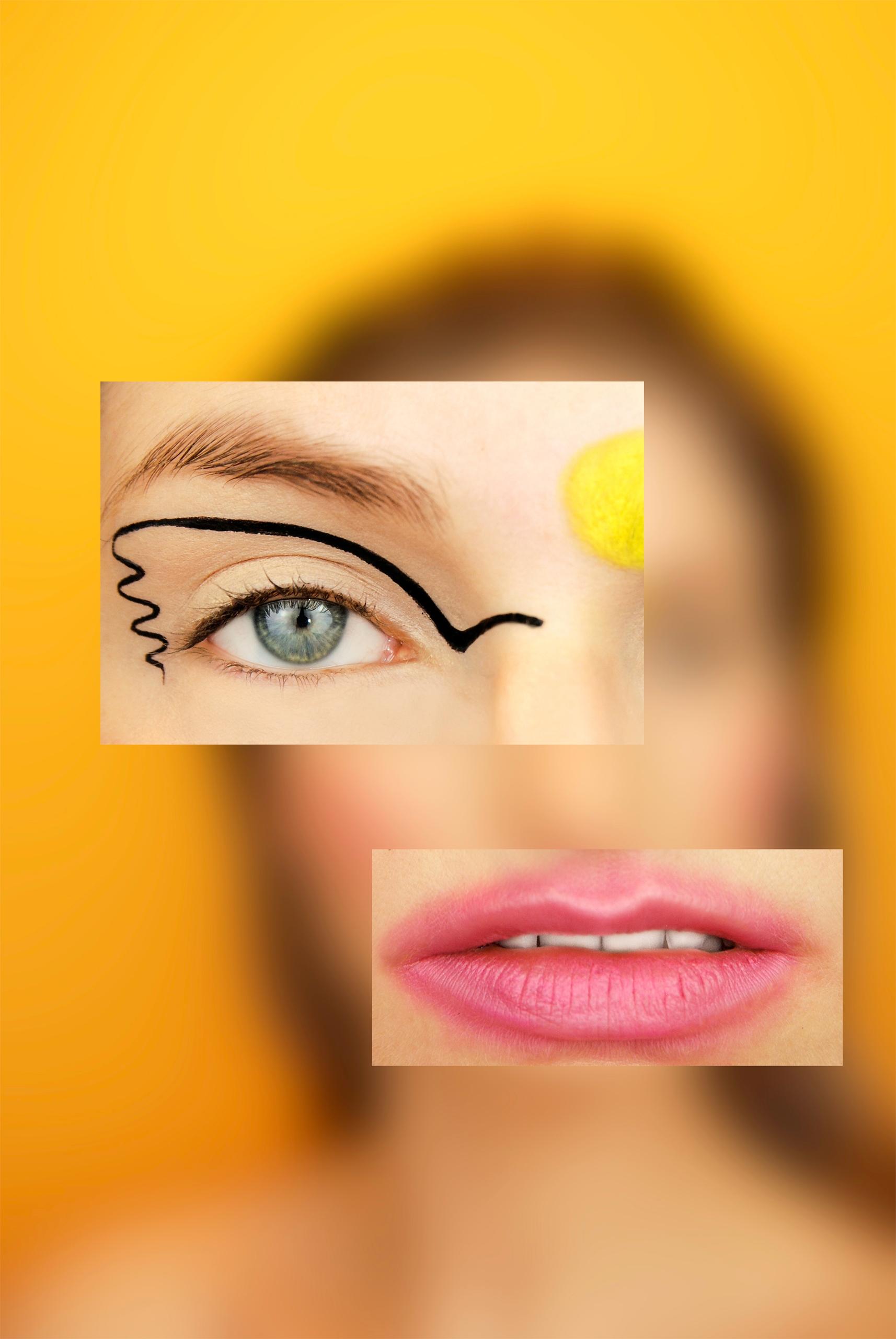 Zdjęcie przedstawia zamglone tło w żółtym odcieniu, a na nim dwa zdjęcia - oko kobiety w makijażu i różowe usta.