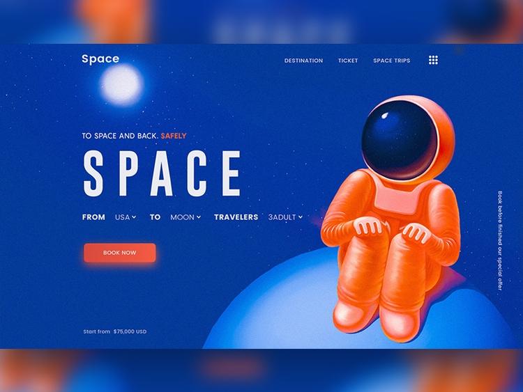 Landing page space - astronaut, cosmo - tapadar97 | ello