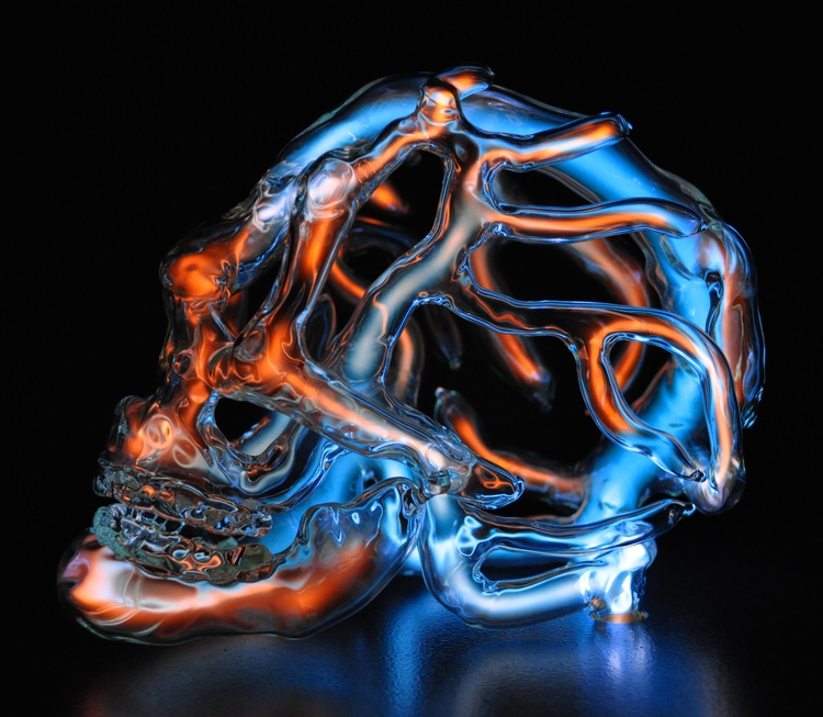 skull, glass, neon, light, lightart - ericfranklinstudio | ello