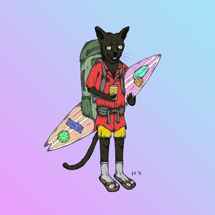 Surf Puss - righteouswave, illustration - saucechalice | ello