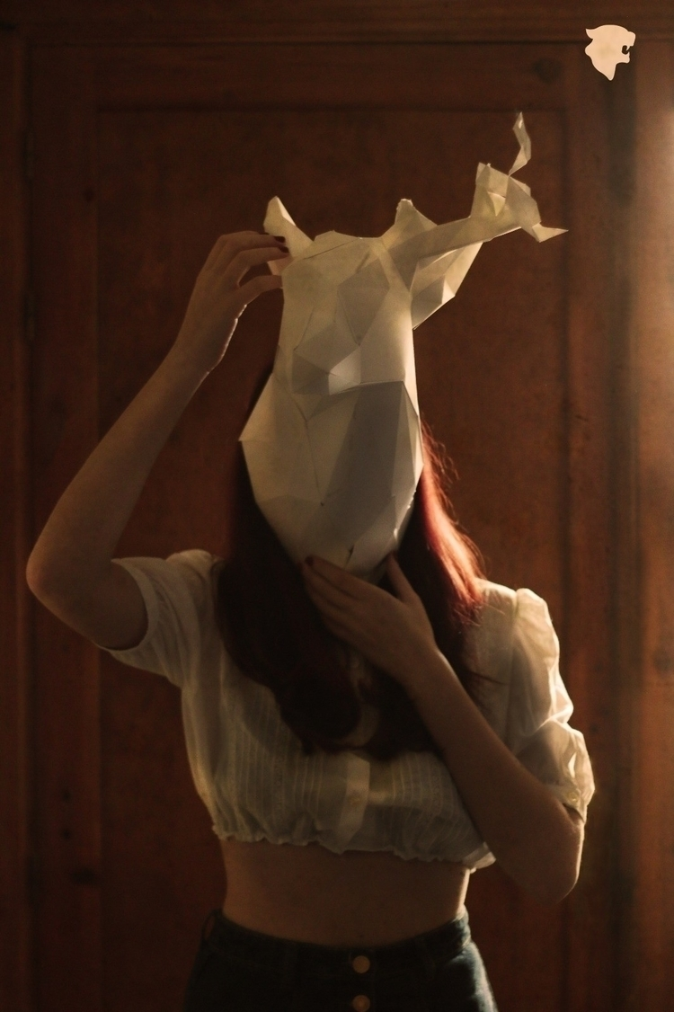 Máscara / Mask - deer, head, paper - whatanartt | ello