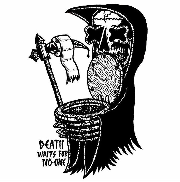 Death Waits paper - illustration - deathcave   ello