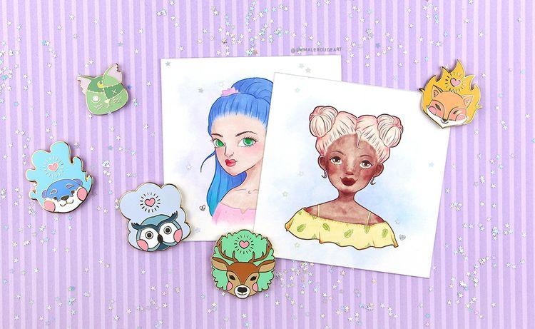 Animals pins cute ladies - Art, EnamelPins - emmalerougeart | ello
