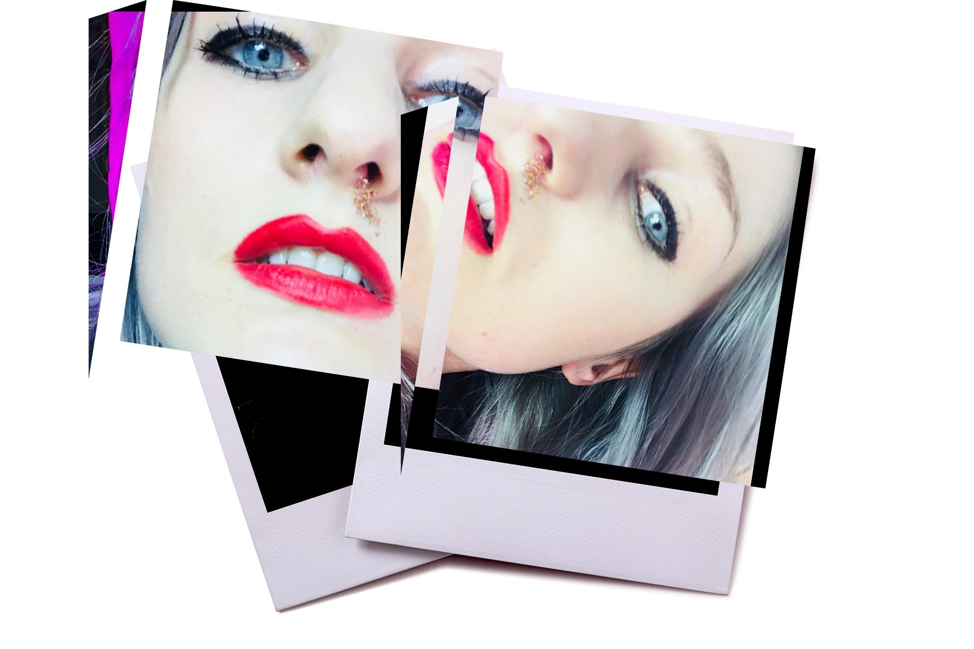 Obraz przedstawia dwie fotografie typu polaroid. Widać na nich kobiecą twarz w makijażu.