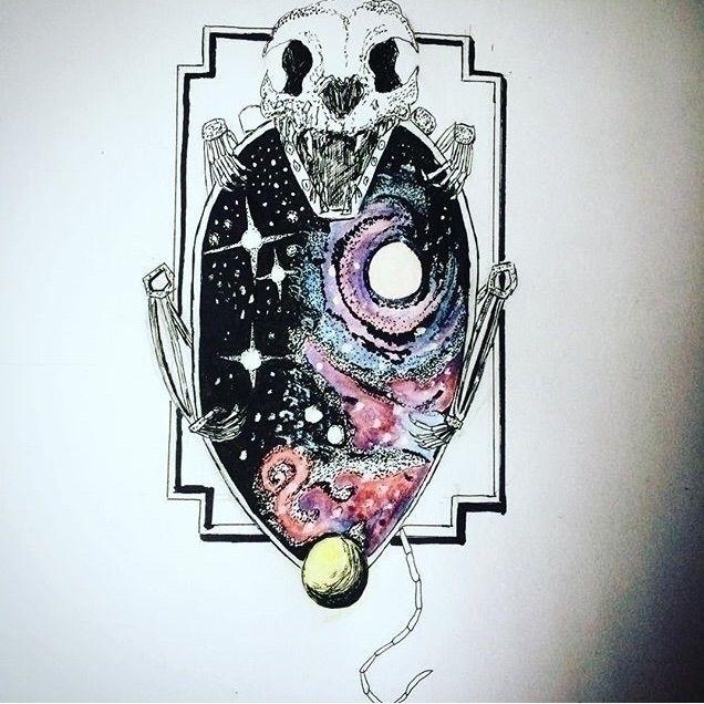 Galaxy Cat - watercolour, sharpieart - abra_cadavera | ello