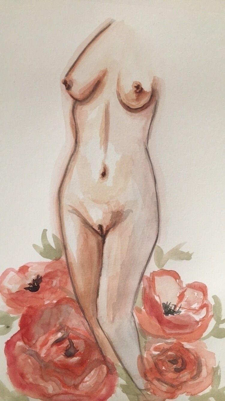 Watercolor nude. quick painting - hannahmarie126   ello