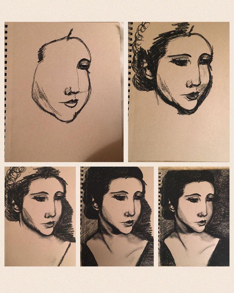 portraits, charcoal, graphite - leneshmarie | ello