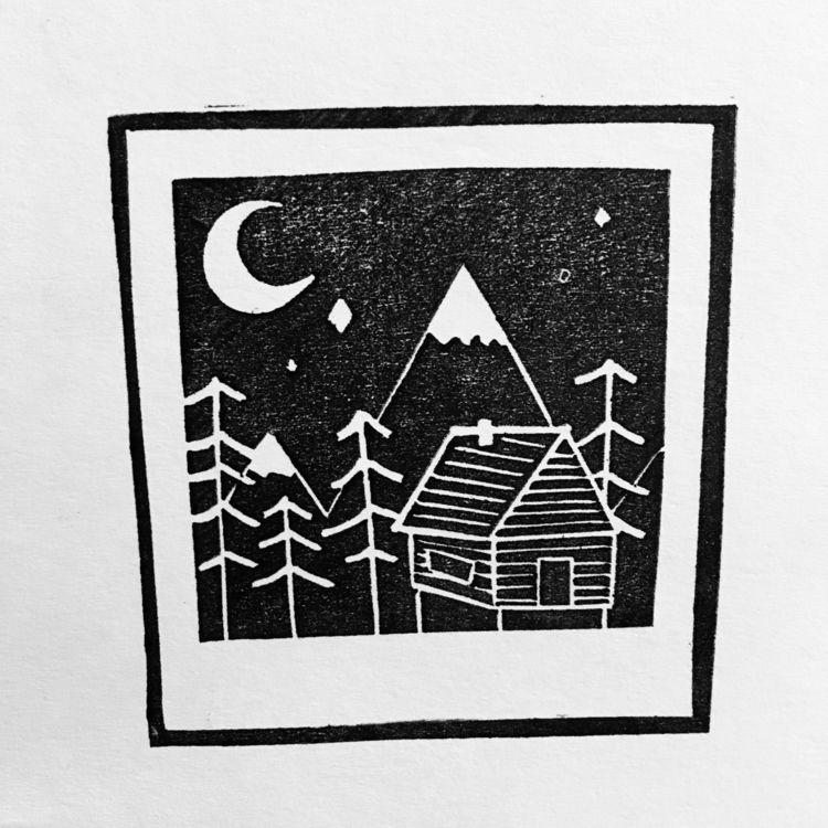 snowy German mountains stamp so - studiomalu | ello