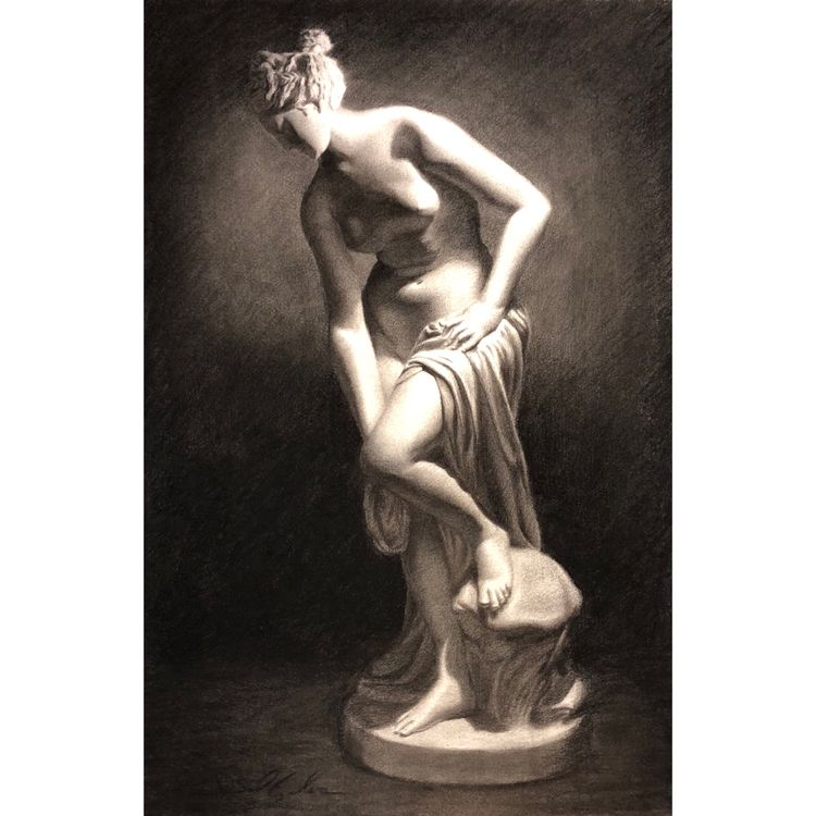 charcoal drawing plaster statue - danielsartwork | ello