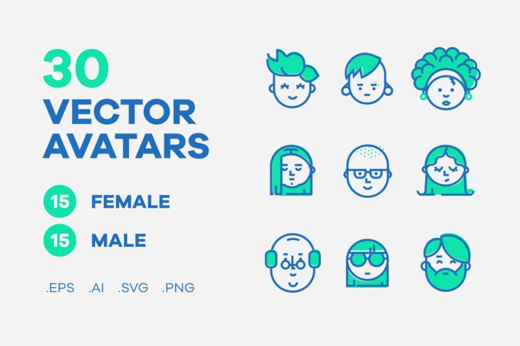 Vector collection 30 avatar ico - thewoorkco | ello