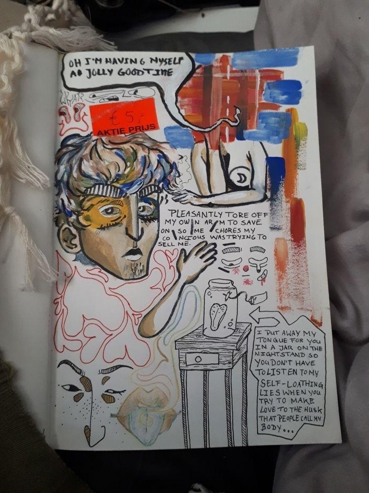 page hardest - illustration, sketchbook - jeans-bent   ello