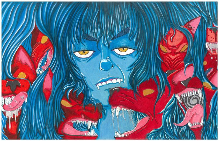 Blue Fury 11x17 inches Prismaco - theangryartist | ello
