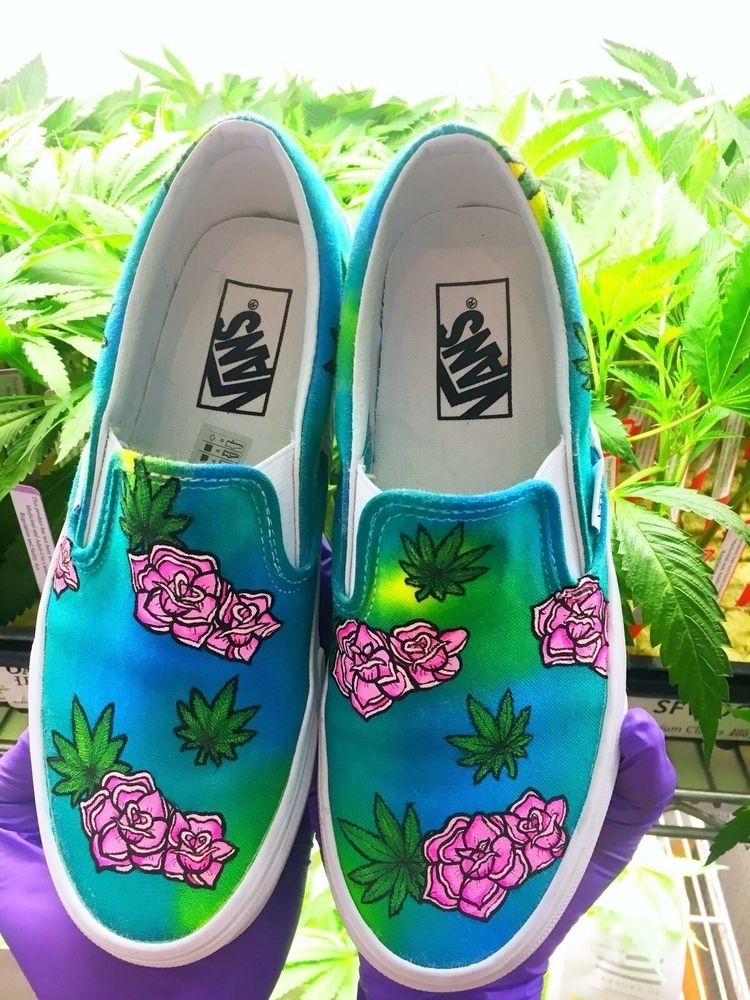 Flowers hand dyed painted Vans  - shejo0389 | ello